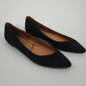4/$25 H&M Pointed Toe Black Suede Feel Flats
